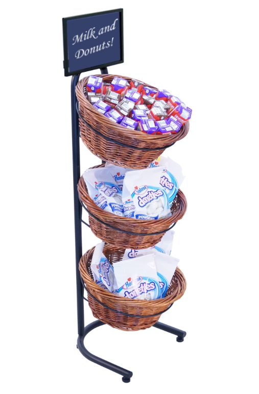 "Black Metal 3-Tier Basket Stand With 3 Brown Wicker Baskets - 15 1/2""L x 8 1/2""W x 41""H"