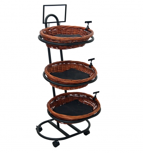 "Black Metal 3-Tier Mobile Oval Basket Stand - 23""L x 29""D x 54""H"
