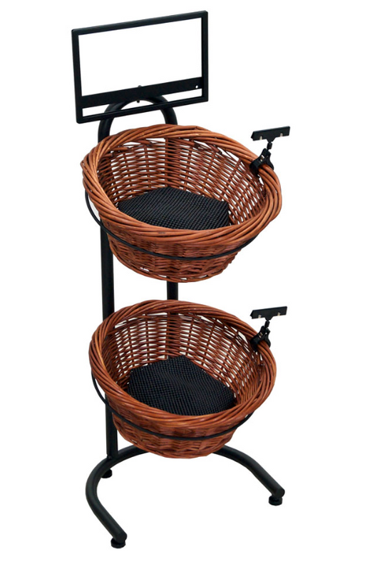 Black Metal Countertop 2-Tier Basket Stand With 2 Brown Wicker Baskets