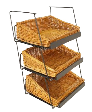 "Black Metal/Wicker Countertop Stackable Basket Display - 13 1/4""L x 10""D x 6 1/2""H"