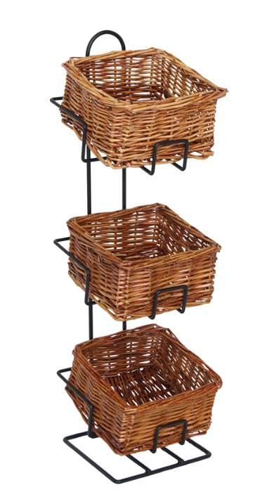 "Black Wire 3-Tier Stand With Wicker Baskets - 6""L x 6""W x 20""H"