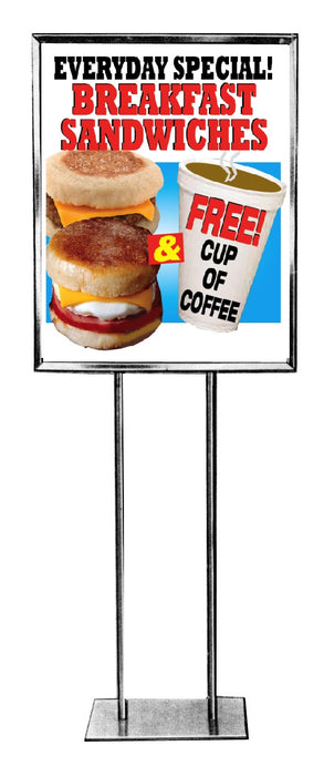Breakfast Sandwiches Floor Stand Stanchion Sign