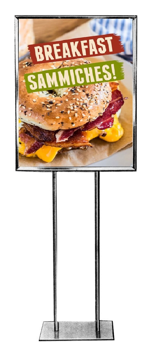 Breakfast Sandwiches Floor Stand Stanchion Sign-Fun