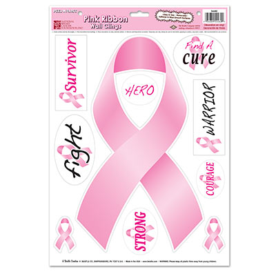 Breast Cancer Awareness Pink Ribbon Clings