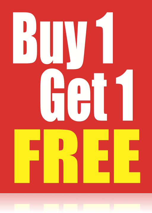"Buy 1 Get 1 Free Window Signs Poster-36"" W x 48"" H"