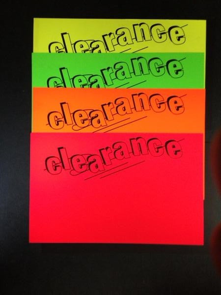 "Clearance Shelf Signs-Price Cards-Fluorescent Rainbow Pack- 11""W x 7""H -100 price cards"