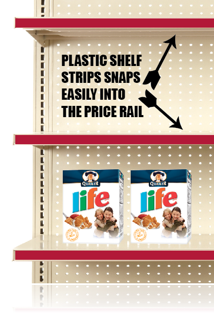 Red Price Rail Channel Shelf Molding Strips
