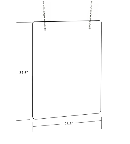 "Checkout Counter Protective Barrier Sneeze 23.5"" x 31.5"" Guard Shields Hanging Kits- 2 pieces"