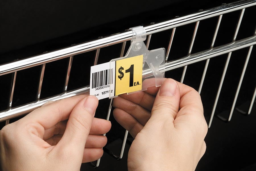 "Covered Price Label Tag Holder for Wire Fixtures-2""W x 1.25""H- 50 pieces"