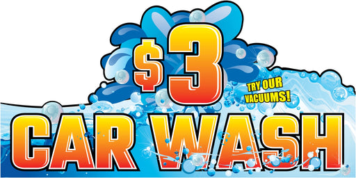 "Car Wash $3 Wall Sign-96"" W x 48"" H"