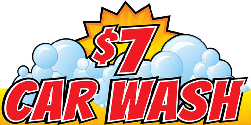 "Car Wash $7 Wall Sign-96"" W x 48"" H"