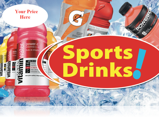 Ceiling Dangler Mobile Sign-Sports Drinks with Custom Price