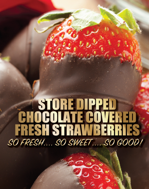 Chocolate Covered Strawberries Window Sign Poster