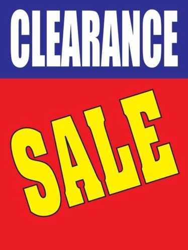 "Clearance Sale Window Signs Poster-36"" W x 48"" H Blue"