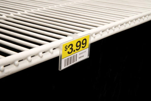 Clear Plastic Double-Wire Shelf Label Holder With Snap Lock Closure