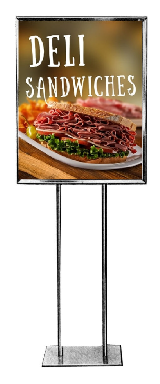 "Deli Sandwiches Floor Stand Stanchion Signs-Full Color-22"" W x 28"" H"