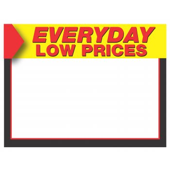 "Everyday Low Price Shelf Signs-Price Cards-11""W x 8.5""H -Laser Compatible -100 signs"