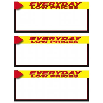 Everyday Low Price Shelf Signs-Laser Compatible-3 up per sheet-300 signs