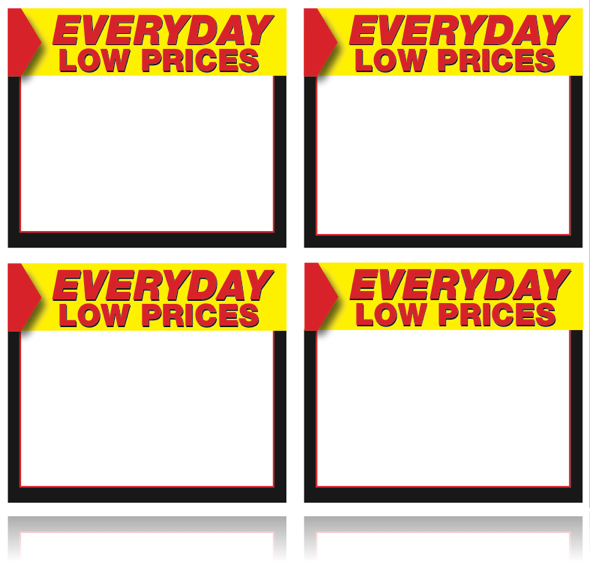 Everyday Low Price Shelf Signs-4 up Laser Compatible Stock-400 signs