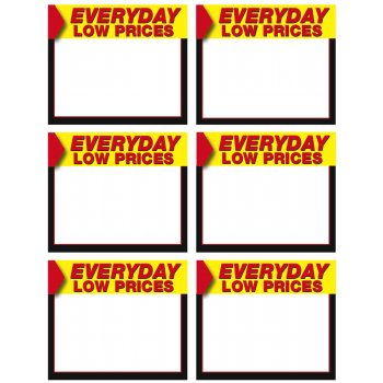 Everyday Low Price Shelf Signs-6 up Laser Compatible-600 signs - screengemsinc