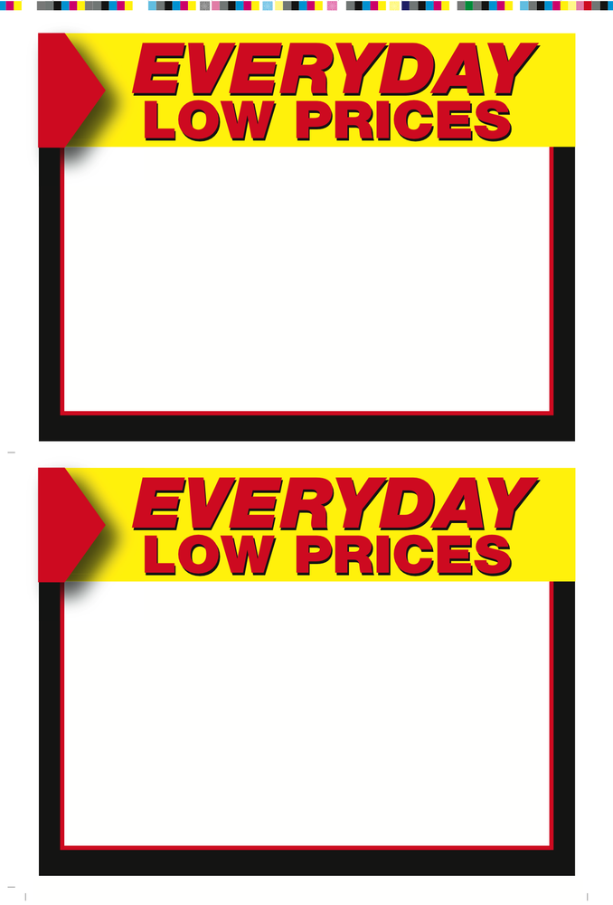 Everyday Low Price Shelf Signs-2 up Laser Compatible Stock-200 signs