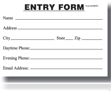 Entry Blanks Entry Form Pads-100 sheets per pad