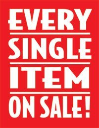 "Every Item on Sale Aisle Invader Shelf Signs- 4""W x 4""H -50 pieces"