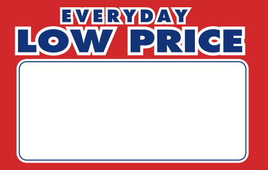 "Everyday Low Price Shelf Signs Retail Price Cards-Red & Blue 11""W x 7""H  Laser Compatible-100 signs - screengemsinc"