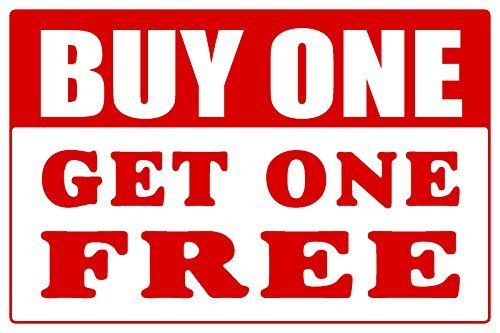 Buy one Get one Free Countertop Easel Sign