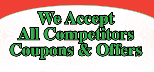 We Accept Competitors Coupons Easel Sign