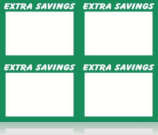 Extra Savings Shelf Signs Price Cards Laser Compatible Stock-400 signs