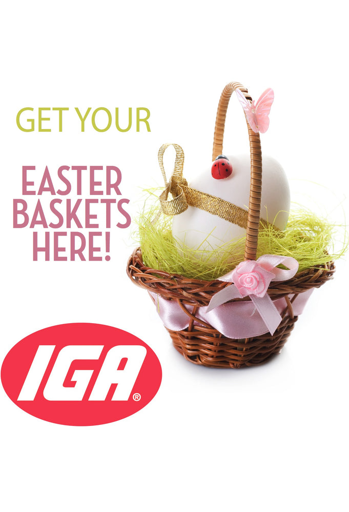 IGA Easter Baskets Countertop Easel Sign