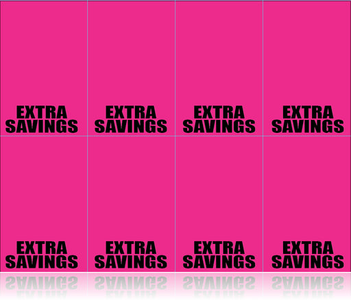 Extra Savings Fluorescent Pink Laser Compatible Shelf Signs-8up-800 signs
