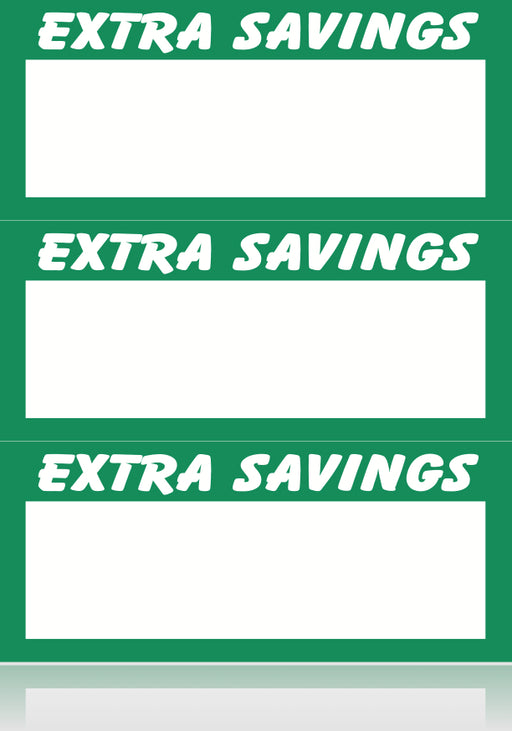 Extra Savings Shelf Signs- 3 up per sheet- Laser Compatible-300 signs