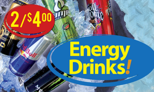 "Energy Drinks Window Sign Posters-48"" W x 36"" H"