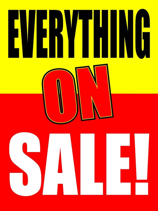 "Everything on Sale Window Signs Poster-36"" W x 48"" H"