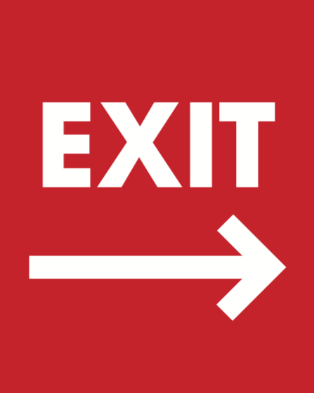 "Exit With Arrows Stanchion Floor Stand Sign Set 22""x28"""