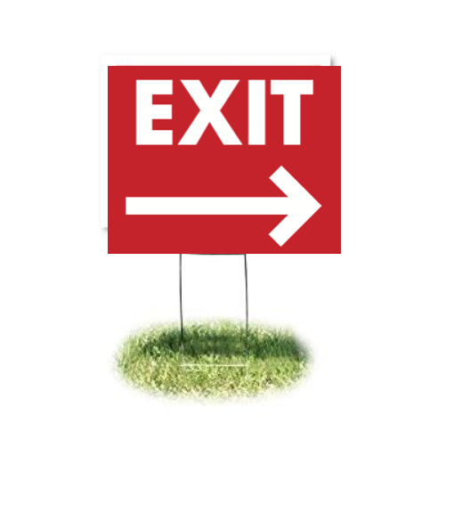 "Exit Arrow Lawn Yard Signs-24"" x 18"""