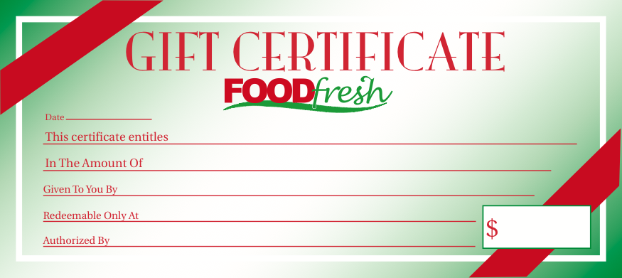 Food Fresh Gift Certificate  25 pieces per pack
