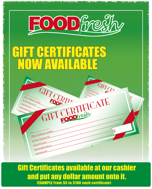 "Food Fresh Gift Certificate Window Sign Poster-36""W x 48""H"