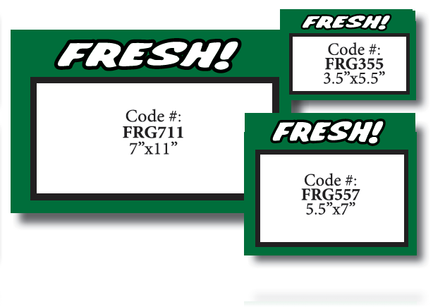 "Fresh Produce Shelf Signs 11""W x 7""H -100 price cards - screengemsinc"