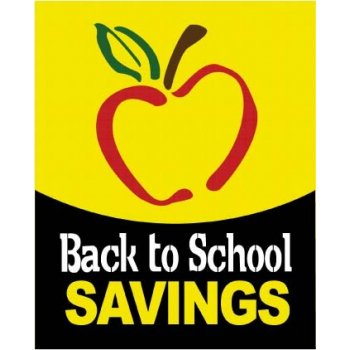 "Back to School Savings Standard Poster-Apple-22""x 28"""