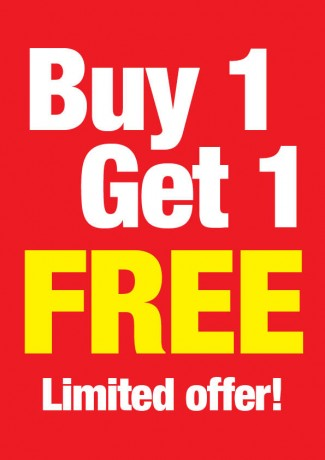 Buy 1 Get 1 Free-Limited Time Standard Poster-Floor Stand Signs-4 pieces