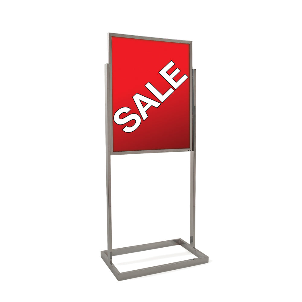 "Floor Stand Stanchion Stand Sign Holder-Rectangular Tubing Base-Chrome-56"" Tall"