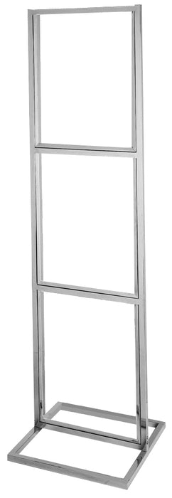 "Floor Stand-Stanchion Sign Holder-Triple Tier-Chrome-90""Tall"