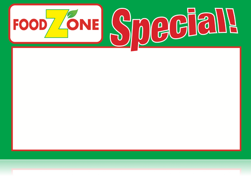 "Food Zone Supermarket Shelf Signs-Price Cards -Green-11"" W x 7"" H -100 signs"