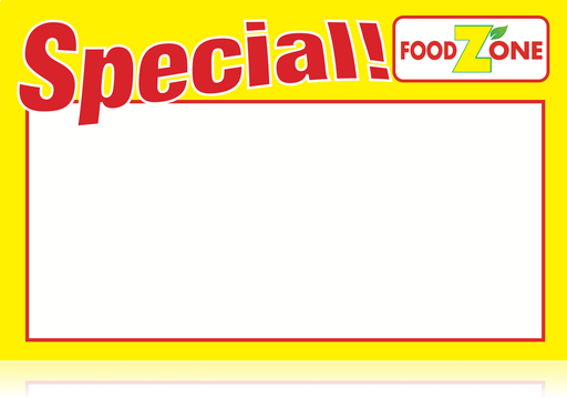"Food Zone Supermarket Special Shelf Signs-Price Cards -11"" W x 7"" H -100 signs"