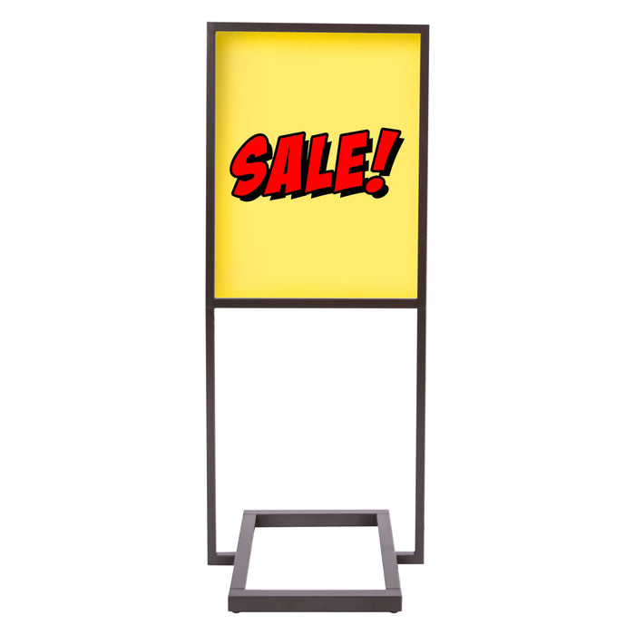 "Floor Stand Stanchion Stand Sign Holder- Rectangular Tubing Base-Bronze 59.5"" Tall"