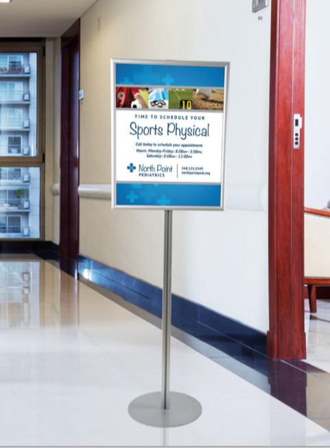 Floor Stand Stanchion Sign Holder-Single Sided
