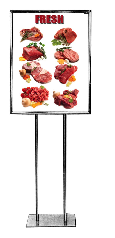 "Meat Floor Stand Stanchion Sign 22""W x 28""H"